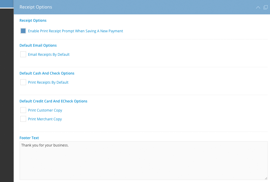 receipt options for new payments iclasspro support